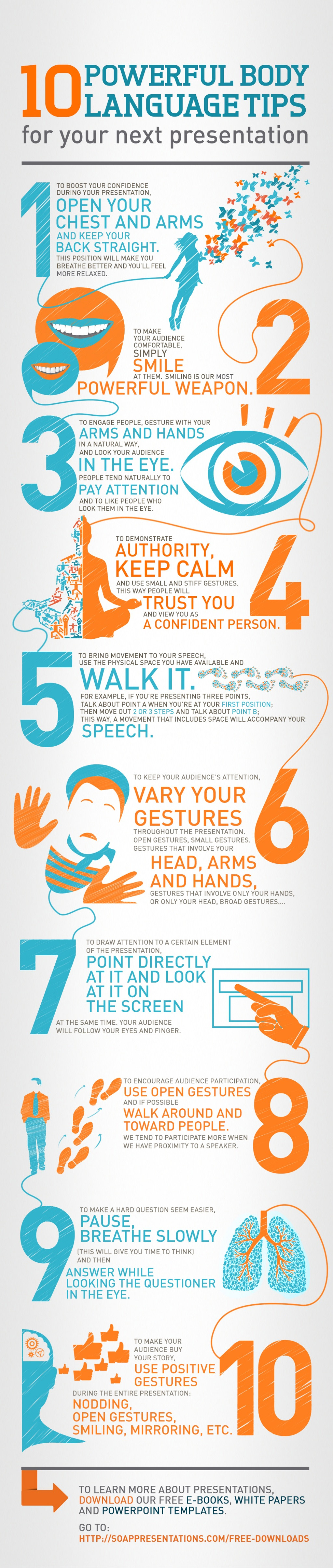 excellent graphic feauring 10 powerful body language tips