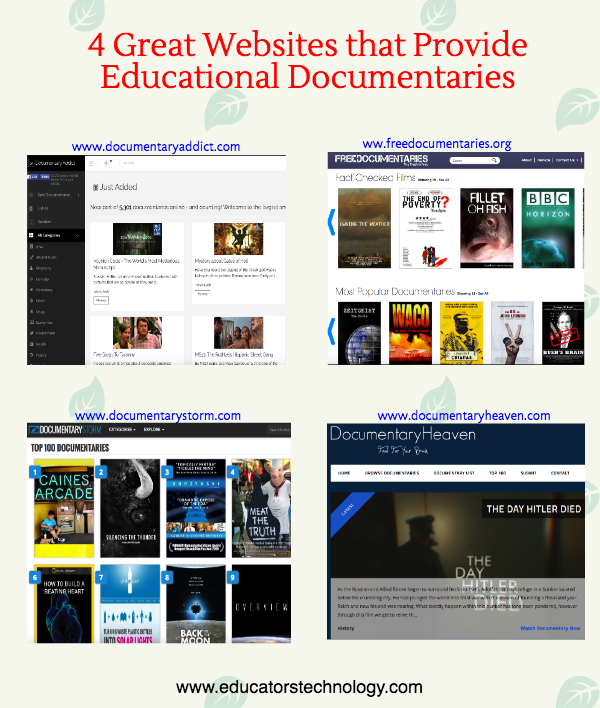4 Great Websites That Provide Free Educational Documentaries for Teachers |  Educational Technology and Mobile Learning