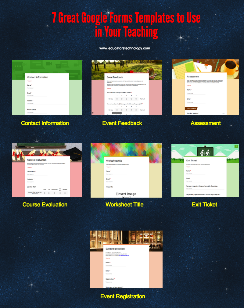 Great Google Forms Templates To Use In Your Teaching Educational - Google design templates