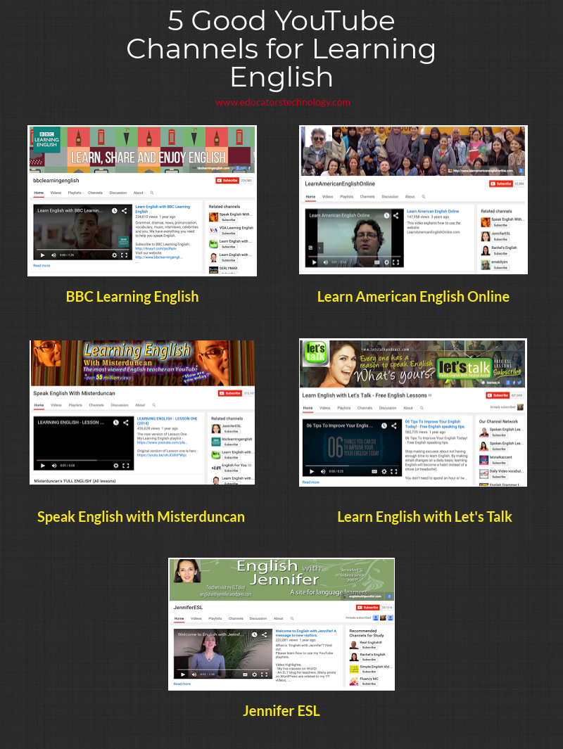 5 Good YouTube Channels for Learning English